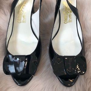 Salvatore Ferragamo Patent Black Sandals